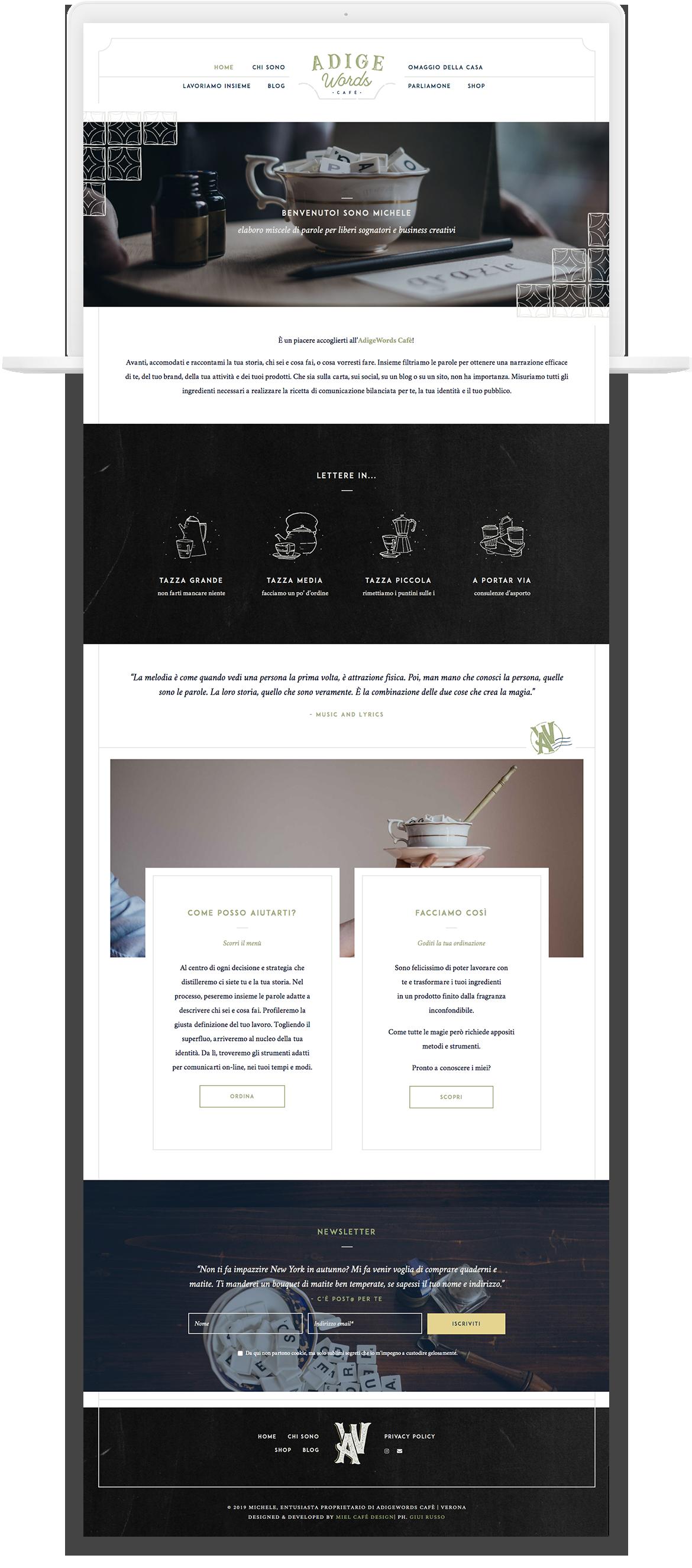 Miel Café Design Portfolio: cafè-themed web design hipster blackboard for copywriter Adige Words Café
