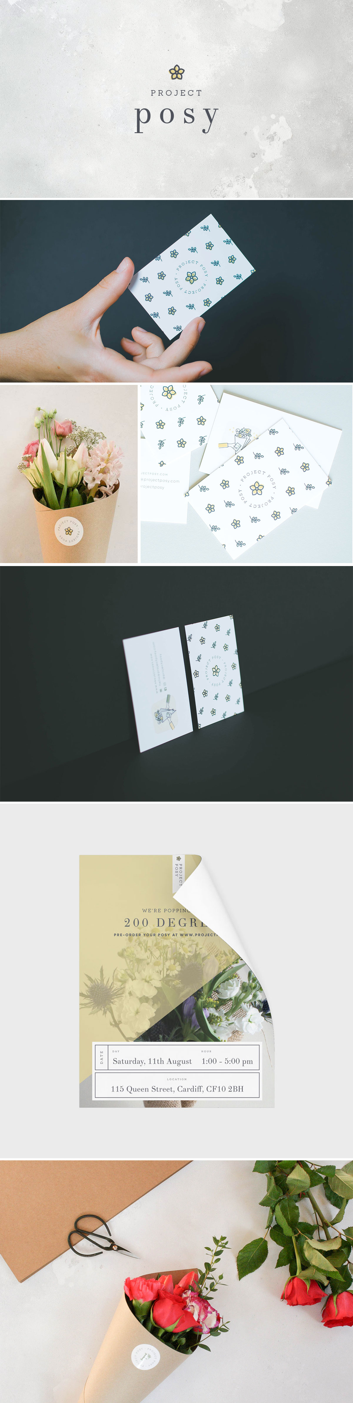 Miel Café Design Portfolio: Minimal floral branding and branded stationery for Project Posy flower delivery service