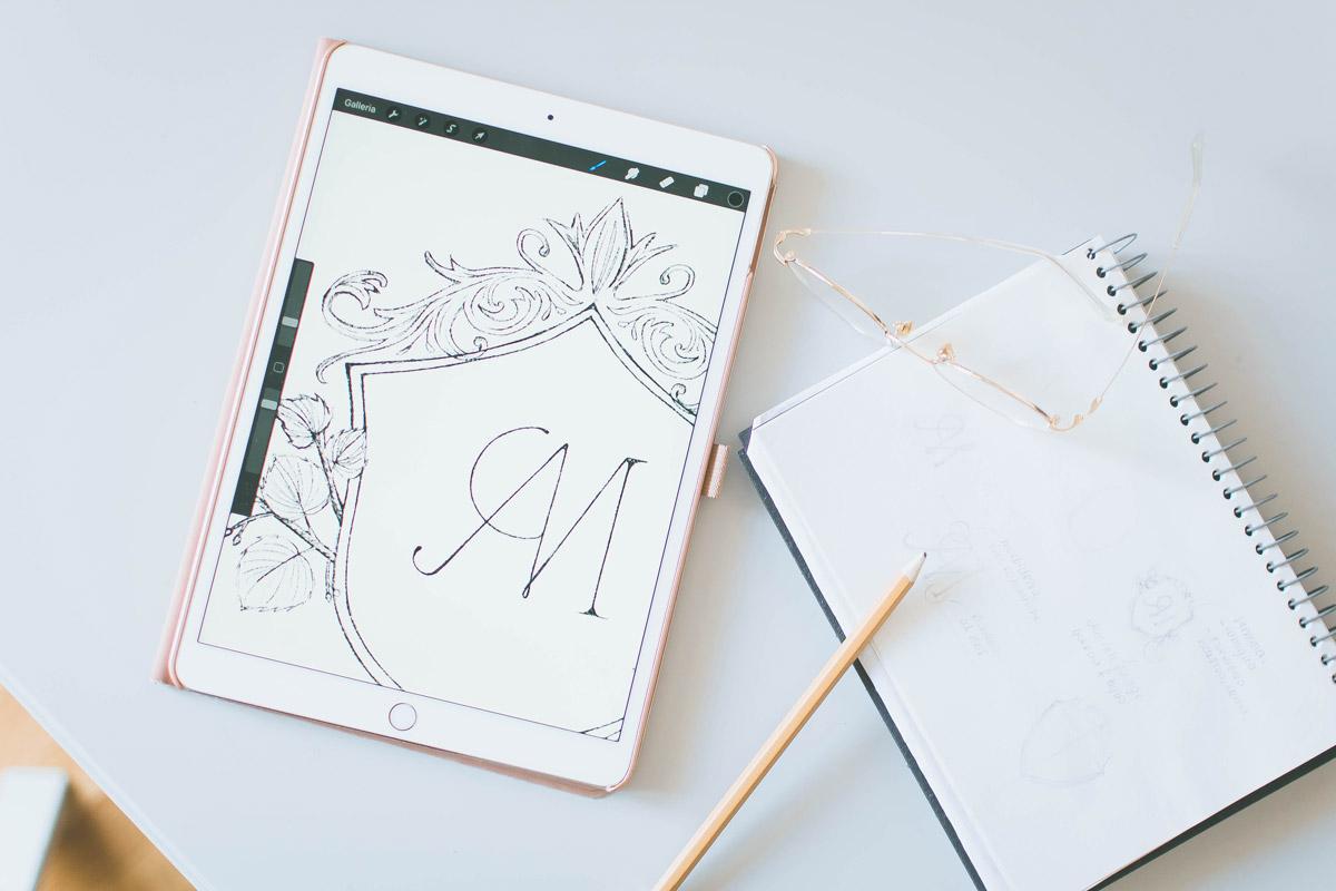 Behind-the-scenes of my logo design process drafts - Miel Café Design