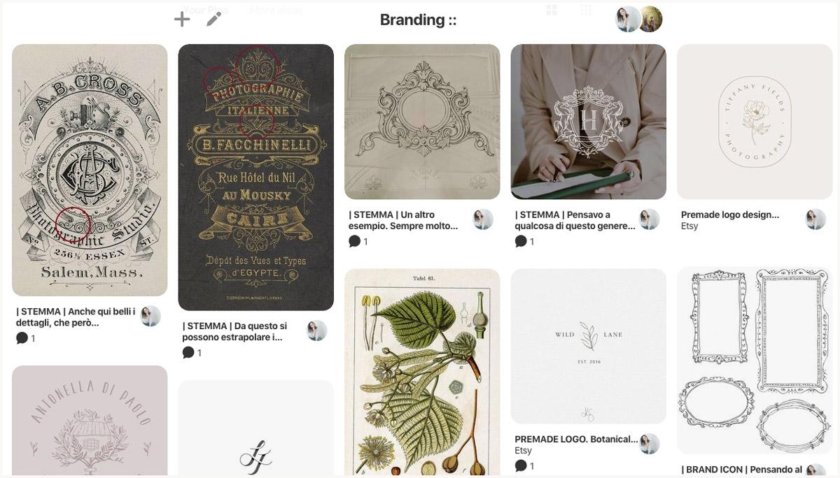 Behind-the-scenes of my logo design process vision board - Miel Café Design