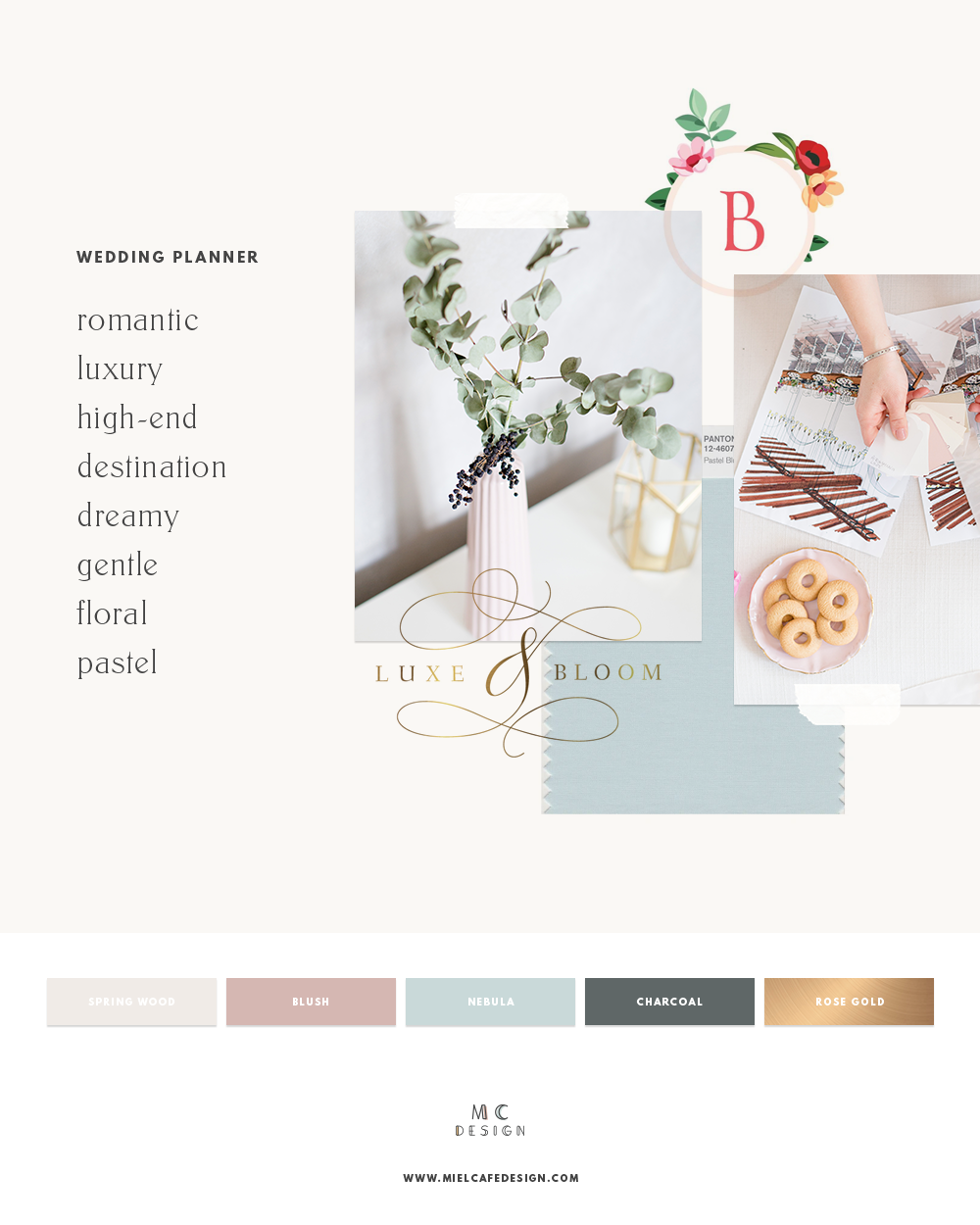 How to create your wedding planner brand - Visualise: romantic, luxury, dreamy, pastel, floral wedding planner mood board and color palette