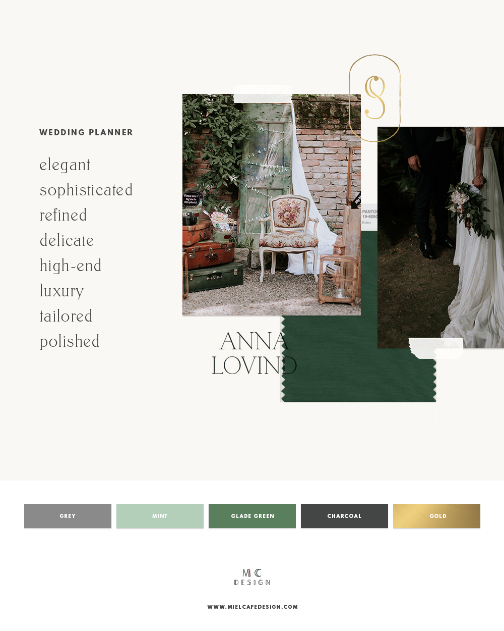 How to create your wedding planner brand - Visualise: elegant, refined, high-end, luxury, moody wedding planner mood board and color palette
