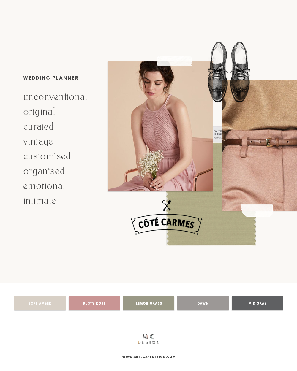 How to create your wedding planner brand - Visualise: unconventional, original, intimate, vintage wedding planner mood board and color palette