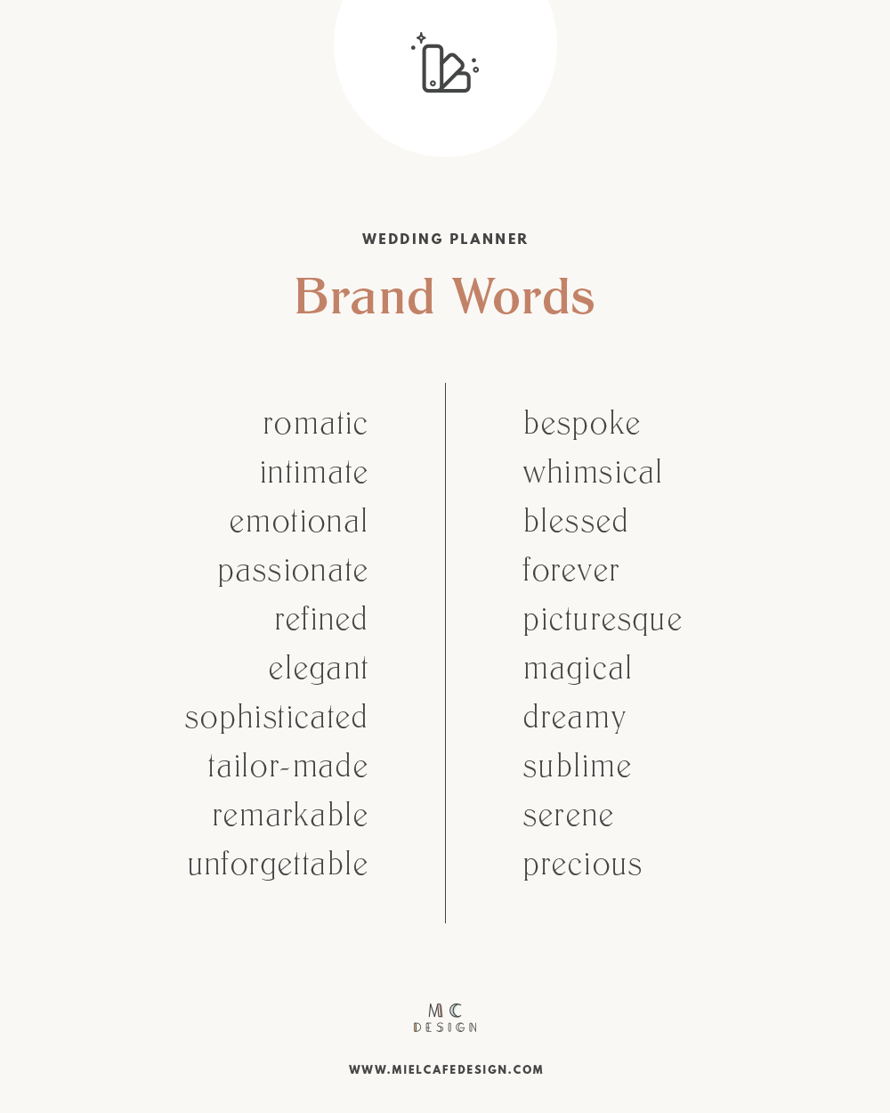 How to create your wedding planner brand: a selection of appropriate brand words for wedding planner brands