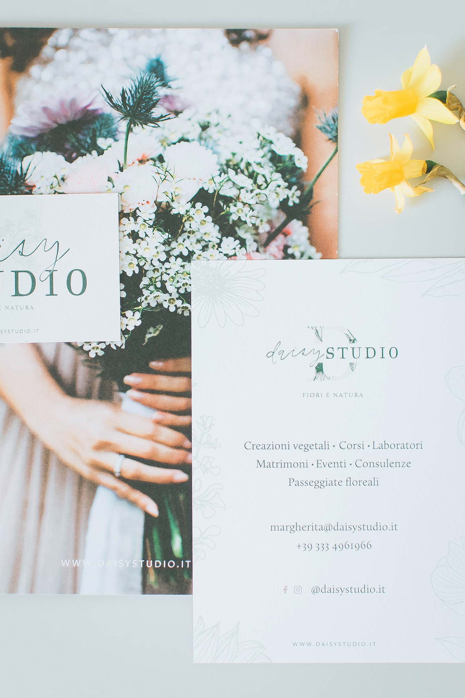Branded stationery: floral wedding brochure, flyer and business card