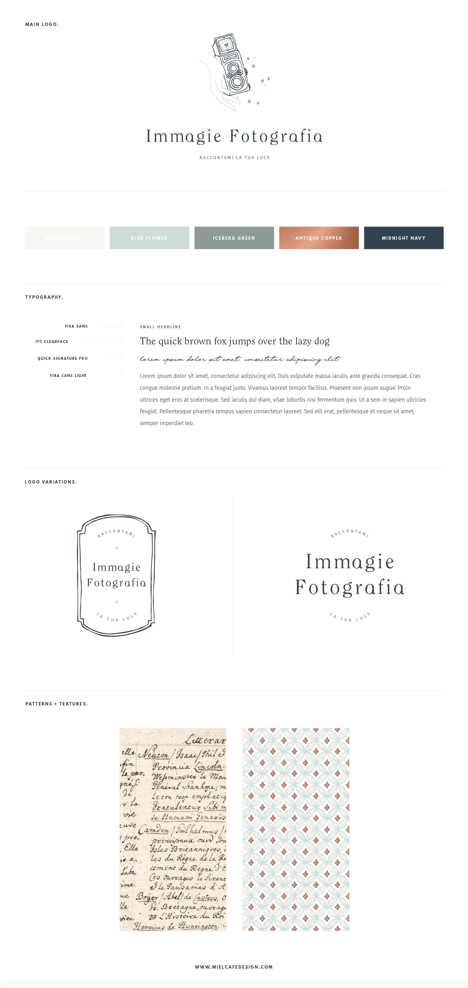 Miel Café Design Portfolio: Brand Board creativa e vintage palette verde acqua e rame, logo disegnato a mano rolleiflex per Immagie Fotografia Fotografa per creativi