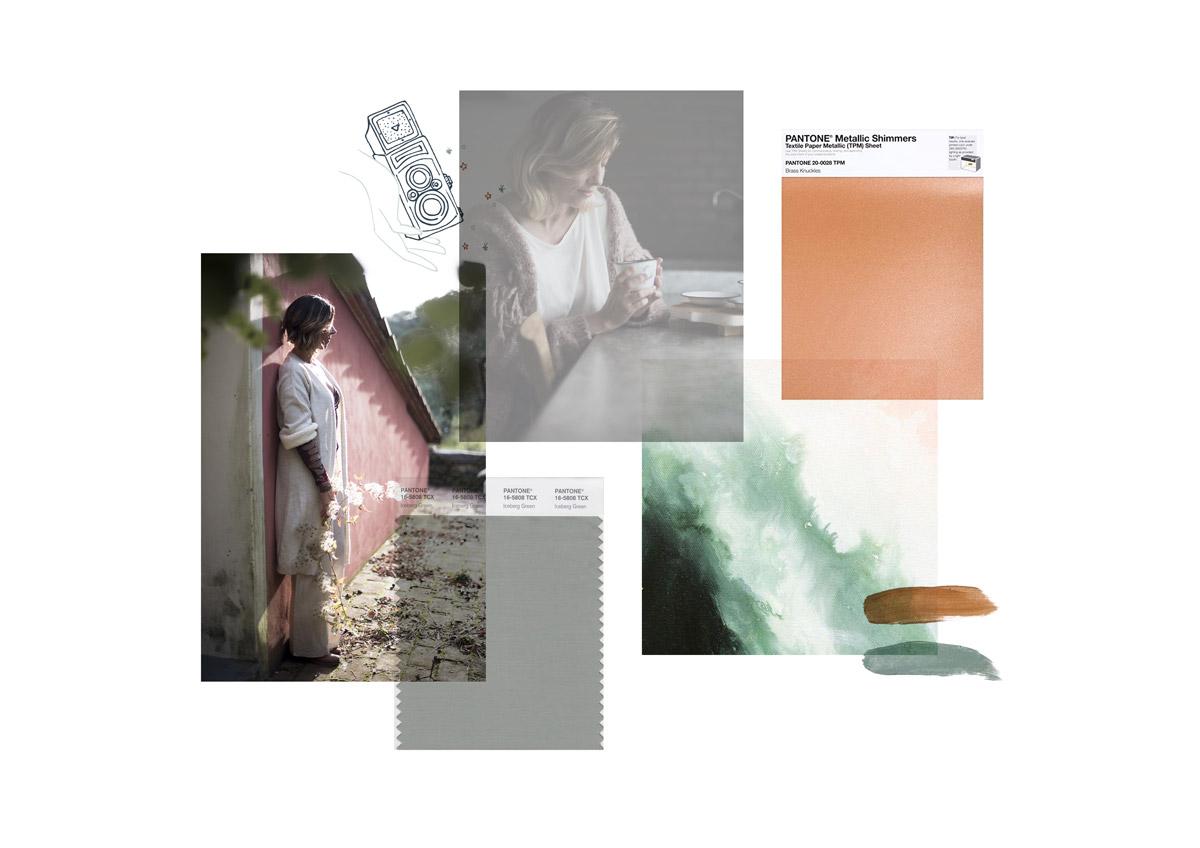 Miel Café Design Portfolio: Moodboard creativa e vintage palette verde acqua e rame per Immagie Fotografia Fotografa per creativi