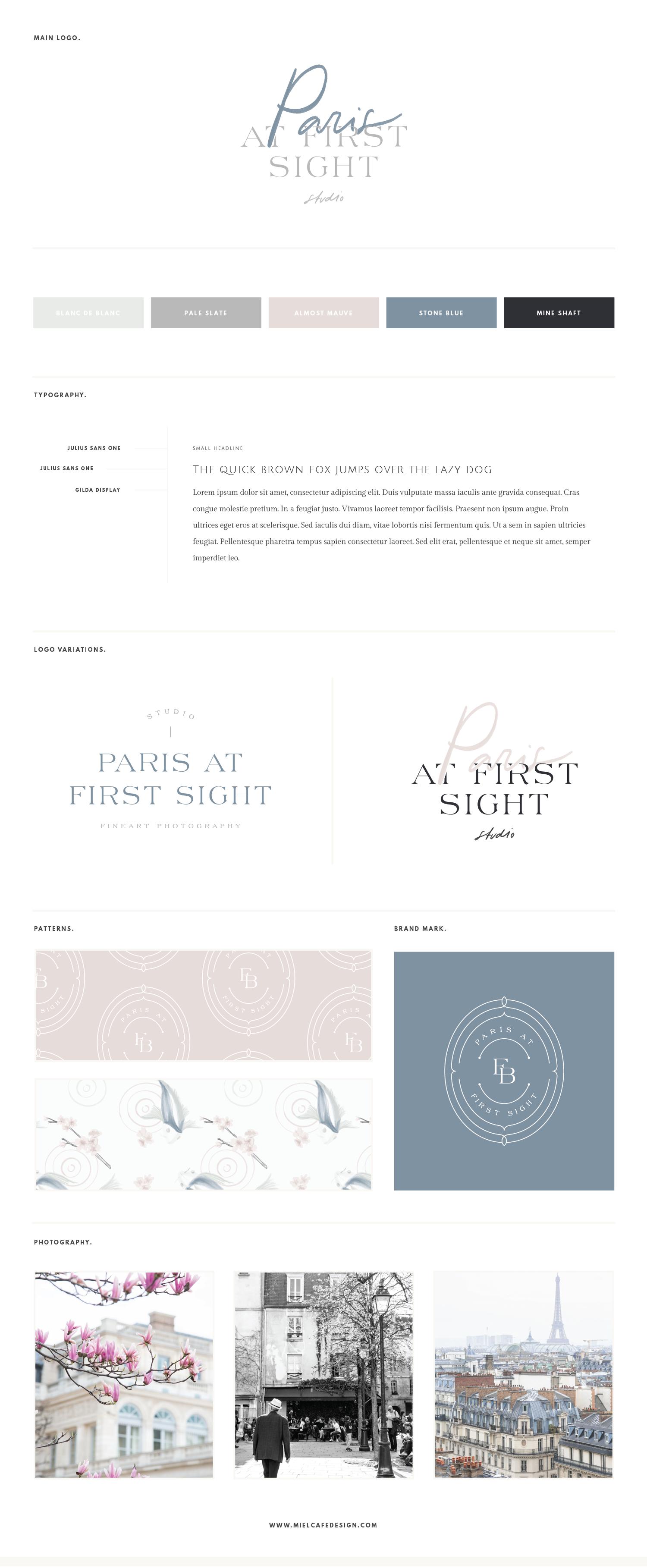 Miel Café Design Portfolio: Elegant Parisian stone blue mauve pink brand board, custom lettering logo, elegant serif, koi fish watercolor pattern for Fine Art Photography business Paris At First Sight