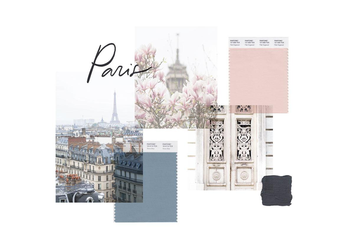 Miel Café Design Portfolio: Elegant Parisian stone blue mauve pink palette and mood board for Fine Art Photography business Paris At First Sight