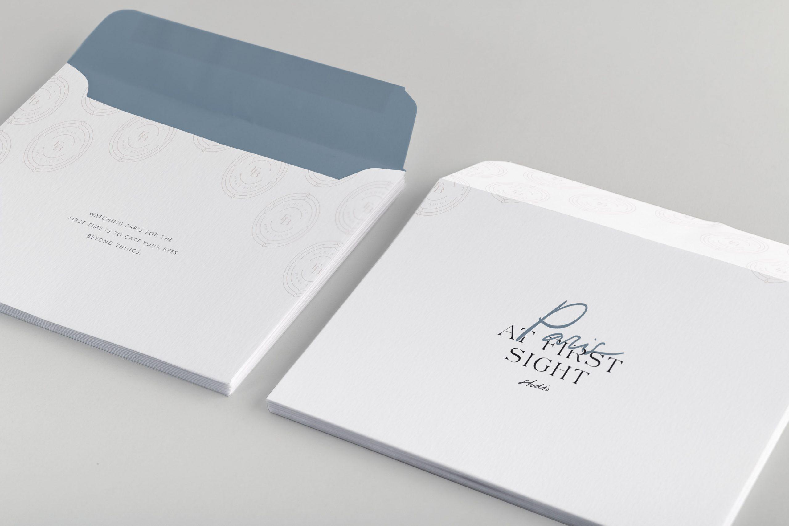 Miel Café Design Portfolio: Elegant Parisian stone blue mauve pink shipping envelopes product packaging design for Fine Art Photography business Paris At First Sight
