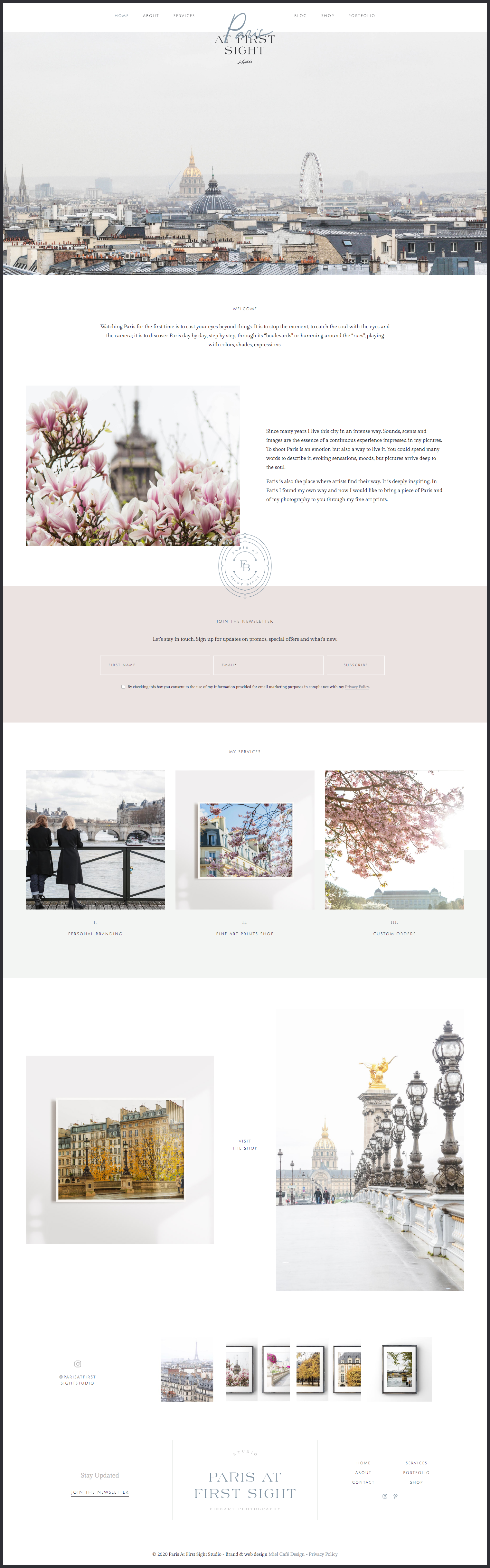Miel Café Design Portfolio: Elegant Parisian stone blue mauve pink modern web design for Fine Art Photography business Paris At First Sight