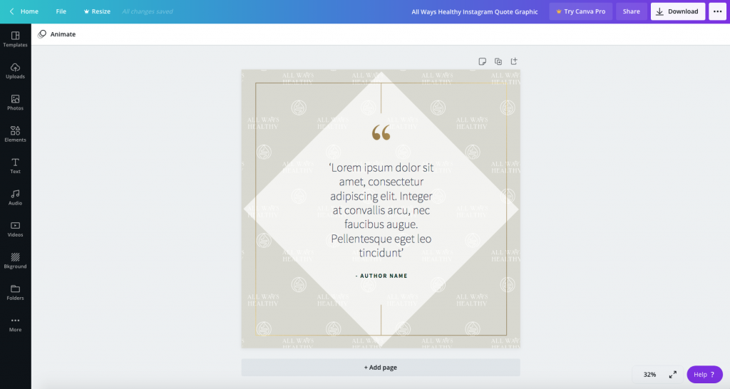 How to build a consistent social media branding - custom Instagram Post quote/testimonial template in Canva